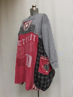 Upcycled NHL Red Wings Vintage Hockey T-shirts Game Day Dress, Hockey Mom Patchwork Dress. Sports Collage made with Vintage T-Shirts and Grey Plaid Flannel Easy Oversized Fit fits sizes medium to XXL 23 measured armpit to armpit, (so up to 46 bust) 37-38long free hips and waist.