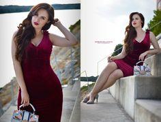 Curvy pear shaped body, burgundy velvet dress, sammydress, summer