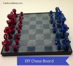 Cool DIY chess board that Cub Scouts can make
