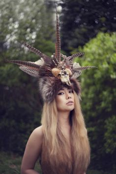 Mind Like Magpie headdress shoot on The Field Guide