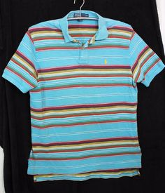 Polo Ralph Lauren Mens L Multi Colored Striped Short Sleeve Casual Polo Shirt #PoloRalphLauren #PoloRugby