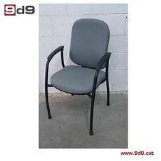 Silla fija de segunda mano para oficina, marca ACTIU, estructura metálica pintada de color negro con asiento y respaldo tapizados en tela color gris. PVP 40€