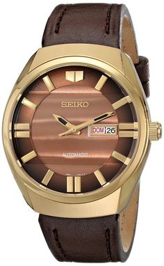 Seiko SNKN08 Men's Watch Automatic Sunray Brown Dial Gold-Tone Case