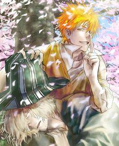 Bleach - Kisuke Urahara x Ichigo Kurosaki - UraIchi Bleach Art, Bleach Anime, Manga Art, Anime Art, Departed Soul, Bleach Couples, Shinigami, The Grim, Darling In The Franxx