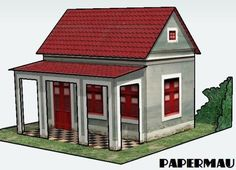 Simple House with Veranda Free Building Paper Model Download - http://www.papercraftsquare.com/simple-house-with-veranda-free-building-paper-model-download.html#BuildingPaperModel, #House