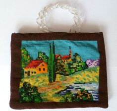 The Vintage Purse Gallery: Needlepoint Purse with Twisted Plastic Handle