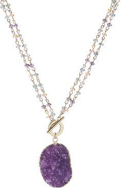 Purple Druzy & Gold Pendant Necklace