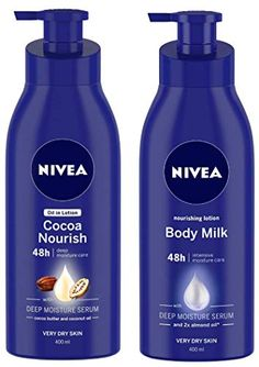 Nivea 400ml Cocoa Nourish Oil Body Lotion For Very Dry Skin And 400ml Nourishing Lotion Body Milk with Deep Moisture ... Body Lotions, Dry Skin, Serum, Cocoa, Almond, Moisturizer, Milk, Personal Care, Deep