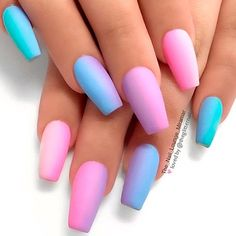 Looking for a creative and trendy summer nail art designs? Are you tired of the same boring nail colors ideas and nail art? Summer is here and that means bonfires on the beach, swimming, and late summer nights. This baby blue acrylic nails is neon acryli Neon Acrylic Nails, Pastel Nail Art, Gradient Nails, Rainbow Nails, Acrylic Nail Designs, Tapered Square Nails, Nails Plus, Cotton Candy Nails, Lavender Nails