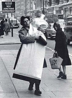 Claes Oldenburg with a monumental tube of toothpaste, London.