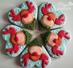 I love reindeer! Christmas Cookies Packaging, Christmas Sugar Cookies, Christmas Sweets, Merry Christmas, Holiday Cookies, Christmas Baking, Iced Cookies, Brownie Cookies, Cupcake Cookies