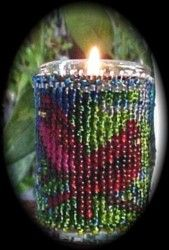 Cardinal Christmas Candle : Beading Patterns and kits by Dragon!, The art of beading.