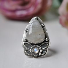 Moonstone Ring, Sterling Silver Ring, Oxidised Gemstone Ring ~~~~~~~~~~~~~~~~~~~~~~~~~~~~~~~~~~~~~~~~~~~~~~~~~~~~~~~~~~~~~    A violet flash
