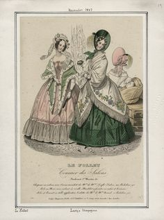 Fashion plate for November 1837 from the Lady's Magazine (LA Public Library; Casey Fashion Plates)