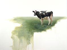 Alexandra Klimas - koeien en landschappen - cows and landscapes Watercolor Animals, Watercolour, Milk Advertising, Cow Paintings On Canvas, Cow Illustration, Holstein Cows, Art Folder, Cow Art, Cattle