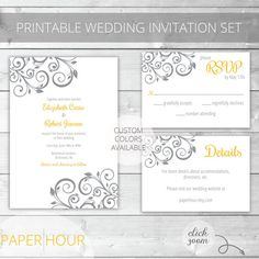 Yellow/Gray Printable Wedding Invitation Set | Floral | Elizabeth Collection | RSVP & Details/Enclosure Card | Custom Colors Available