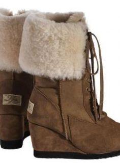 Love From Australia Nova Caramel Wedge Sheepskin Ankle Boots,  Shoes, sheepskin wedge boots wedge boots brown, Chic
