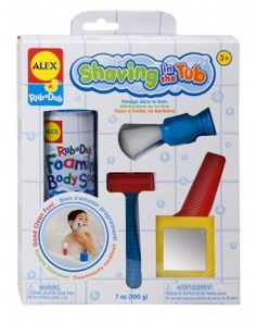 Lather up for a clean, close shave with pretend play Shaving in the Tub. A play razor, shaving brush, comb, child-friendly mirror and 7 oz. can of foaming body soap lets little ones pretend to be a grown up in the tub. It's all good, clean fun!