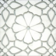 Estelle, a handmade mosaic shown in Venetian honed Calacatta Gold and Weathered White glass | Parterre Collection | Designed by Sara Baldwin Designs for New Ravenna