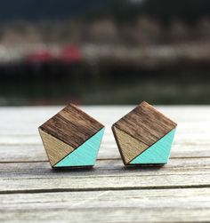 Geometric earrings. Laser cut wood pentagon studs. Wooden Stud Earrings. Gold and Turquoise earrings. Dark Walnut Studs