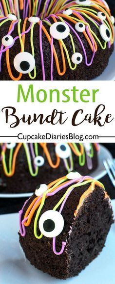 All you need is a cake mix and few other ingredients to make this frightfully fun Monster Bundt Cake. Everything is better with candy eyeballs!