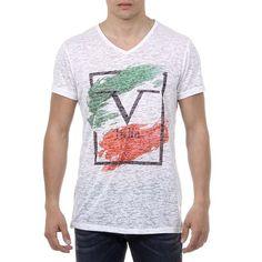 V 1969 Italia Mens T-shirt Short Sleeves V-Neck White LUCAS