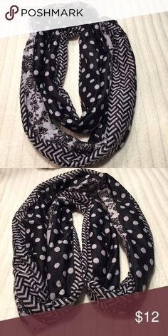 NWOT Patterned infinity scarf NWOT 4 different pattern in scarf made of polyester matches everything!brand new Loopy in love Accessories Scarves & Wraps