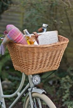 Bicycle basket w pink plaid blanket, bottle of ginger ale or wine and journal to write in. The makings of a perfect afternoon spent outside Sonoma Style.