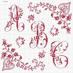Since I cross stitch names and monograms, a little counted cross stitch makes it into my crazy quilts! Cross Stitch Letters, Cross Stitch Borders, Cross Stitch Samplers, Cross Stitch Charts, Cross Stitch Designs, Cross Stitching, Cross Stitch Embroidery, Embroidery Alphabet, Embroidery Patterns