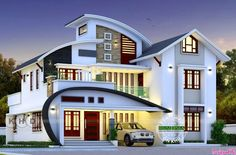 Beautiful C-Curve roof 5 bedroom house in an area of 2666 square feet by Harijith S R, Kollam, Kerala. Best Modern House Design, Modern Exterior House Designs, Dream House Exterior, Cool House Designs, New Model House, Model House Plan, Architect Design House, Bungalow House Design, House Outside Design