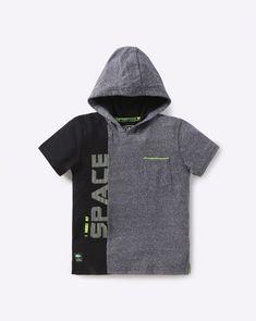 Buy YB DNMX Boys Grey Colourblock Hooded T-shirt | AJIO