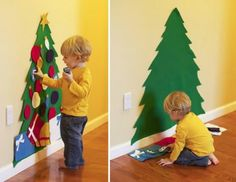 Felt tree up and Velcro on cutouts of presents and ornaments in felt cute Christmas ideas for kids