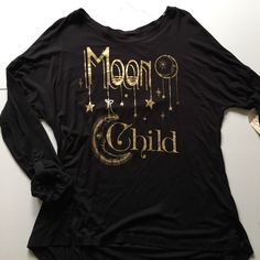 NWT MOON CHILD Black Jersey Shirt Gold Foil Super comfy stretchy jersey material. Juniors size large. Metallic gold print on front. ⚡Will not be priced lower. ❌No offers❌ Self Esteem Tops