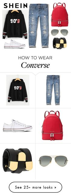 """""""SheIn"""" by realitybytes85 on Polyvore featuring Hollister Co., Converse, MICHAEL Michael Kors, Ray-Ban and Absidem"""