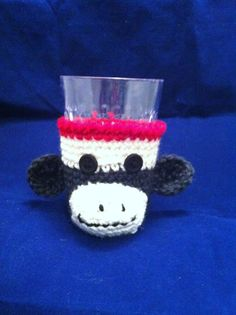 Crocheted Sock Monkey Drinking Glass Cozy by EweGoGirl2 on Etsy, $7.99