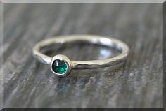 Sterling Silver Swarovski Emerald Ring May by thewrappedpixie
