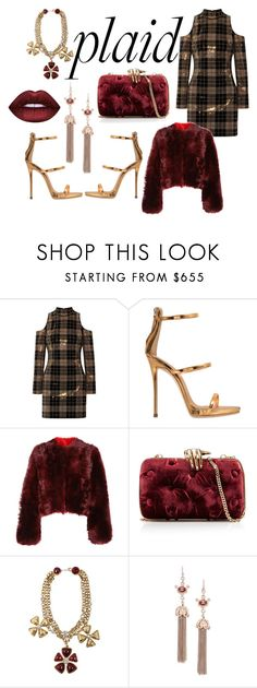 """""""burgundy and gold plaid"""" by loveable-lika ❤ liked on Polyvore featuring Balmain, Giuseppe Zanotti, Calvin Klein 205W39NYC, Benedetta Bruzziches and Chanel"""