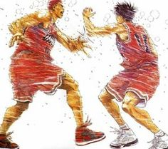 スラムダンク la più bella stretta di mano del mondo sportivo a fumetti... l'odio personale va oltre l'intesa sportiva...