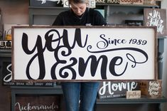 You and Me, what a perfect show of love every day! Better than roses on Valentines Day. This Huge gorgeous sign would look great in your home! Sized at 48x18 it would fit perfect over a bed or couch. This is a solid wood sign, no plywood, or particle board used. Originally distressed