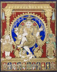 Philadelphia Museum of Art - Collections Object : Shiva Nataraja Geography: Made in Thanjavur, Tamil Nadu, India, Asia Date: Late 19th century Medium: Pigment, semiprecious stones or glass, and gold leaf on wood Dimensions: Image: 20 1/2 × 16 1/4 inches (52.1 × 41.3 cm) Frame: 23 × 18 3/4 × 2 1/2 inches (58.4 × 47.6 × 6.4 cm) Curatorial Department: South Asian Art Object Location: Currently not on view  Accession Number: 2009-208-3 Credit Line: Bequest of Oppi Untracht, 2009