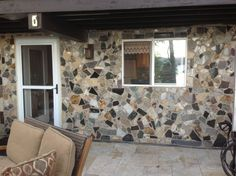 cabin wall of scrap granite pieces Floor Design, Tile Design, White Springs Granite, Granite Remnants, Front Wall Design, Wood Pizza, Granite Slab, Marble Slabs, Backyard