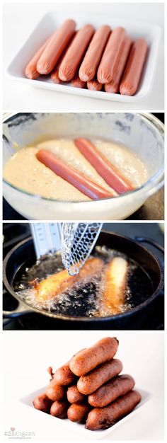 Homemade Corn Dogs. I was just talking about making these the other day! So bad for you, but hubby would be so excited      Ingredients:  1 ...