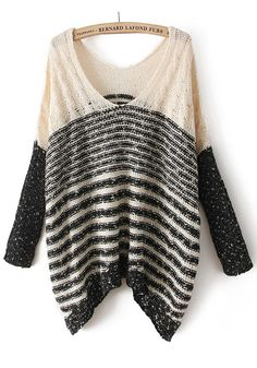 Beige Bright Wire Striped V-neck Cotton Blend Sweater