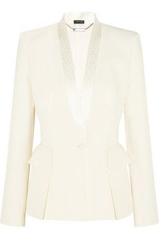 Alexander McQueen Silk jacquard-trimmed crepe blazer | THE OUTNET