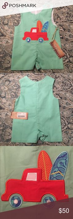 NWT LaJenns Surfboard John John Brand New! Never worn LaJenns John John. Perfect for the little surfer dude in your life! Main color is Seafoam green.🌊🏄🏼 LaJenns One Pieces