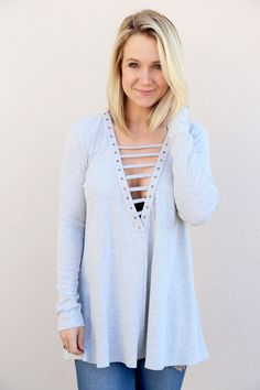 Lace To My Lou Tunic {Gray} - The Rage - 1