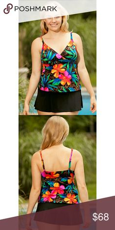 Longitude Hawaii Print 2-piece Skirtini Swimsuit Flatter your figure in? this chic Hawaii Print Two-piece Skirtini?set by Longitude   Empire waist top visually minimizes tummy and hides hips  Solid slit skirt hides hips and minimizes rear and thighs  V-neckline enhances bust  Soft bra cup gives bust support  Fits up to a C cup  Lingerie shoulder straps with sliding adjustability provide bust support  Skirtini?fits true to size but fits well for women with a long torso as well  82% Nylon…