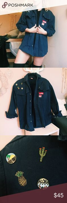 Vintage patch navy jacket Vintage super cute navy jacket with patches. Love pairing with thigh highs. There are Holes in the elbows witch add such a cute distressed look, fits size small- large depending on desired fits love the oversized look of it. Not nasty gal Nasty Gal Jackets & Coats Jean Jackets