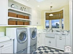 Checkered floor/ Marble Countertops in the Laundry Room!