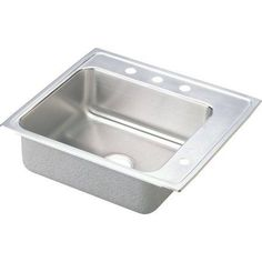 Elkay DRKADQ252260R3 Lustertone Stainless Steel Single Bowl Top Mount Quick-Clip Sink with 3 Faucet Holes, Multicolor